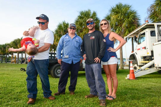 Sponsor FPUA's Michael Goldsmith with Adalynn Gilsinan, Dalton Wolfe, Daniel Tillmand and Monique Gilsinan at Stars Over St. Lucie, Main Street Fort Pierce's Fourth of July celebration.