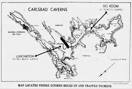 This map locates where Carlsbad Caverns gunmen holed up and trapped a tourist July 10, 1979.