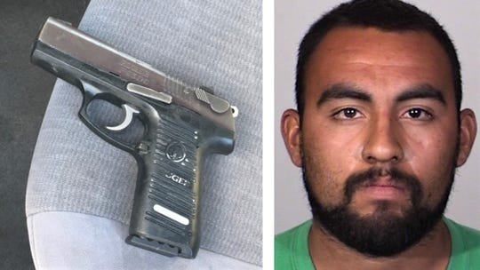 Andy Martinez was arrested after a gun was found hidden under a seat in the  car he was driving, Oxnard police said.
