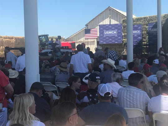 The crowd waits for  Vice President Mike Pence to speak on Wednesday, July 10 in Lemoore where he campaigned for the passage of United States-Mexico-Canada Agreement.
