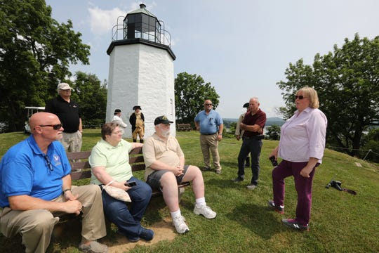 Julie Warger, right, manager of the Stony Point Battlefield State Historic Site, talks to visitors July 10, 2019. Re-enactors will recreate the Battle of Stony Point to commemorate its 240th anniversary.