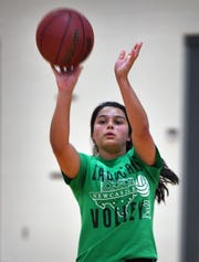 Nicole Martinez of Newcastle practices Wednesday at Midwestern State University for the Texas Six-Man Coaches Association East All Stars girls basketball game.