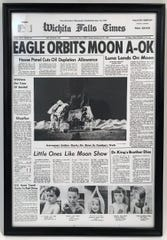 The evening edition of the newspaper, the Wichita Falls Times, features a photo of men on the moon from July 21, 1969.