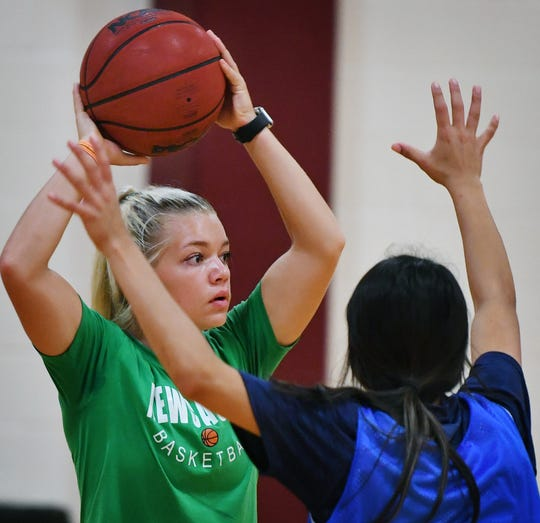 Arryn Eli of Newcastle practices Wednesday for the Texas Six-Man Coaches Association East All Stars girls basketball game.