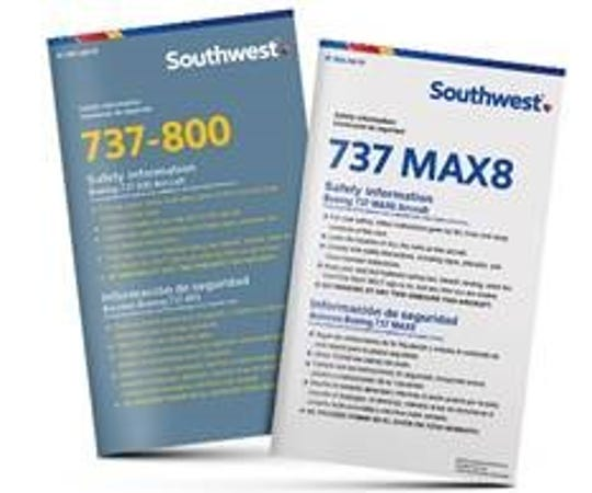 The new safety information cards for Southwest Airlines' Boeing 737-800 and 737 Max 8. The aircraft shared a card before the Max grounding.