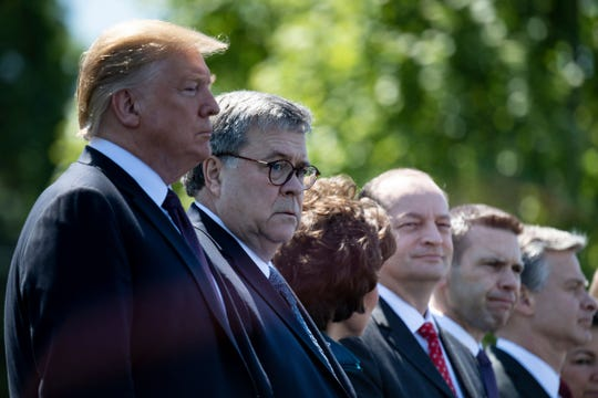 President Donald Trump, Attorney General William Barr, Transportation Secretary Elaine Chao, Secretary of Labor Alex Acosta, Acting Secretary of Homeland Security Kevin McAleenan and FBI Director Christopher Wray attend the 38th Annual National Peace Officers Memorial Service on May 15, 2019, in Washington, DC.