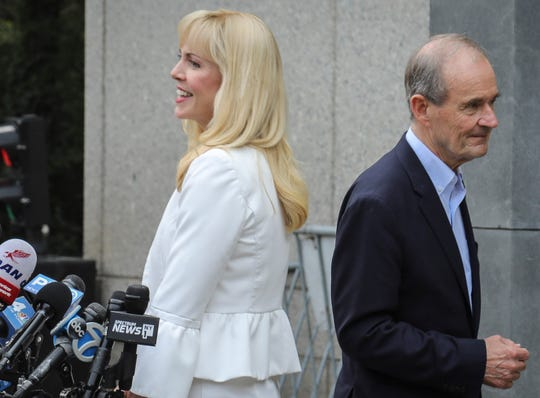 Sigrid McCawley and David Boies, lawyers for accusers of financier Jeffrey Epstein, addressed the media after a hearing at Manhattan Federal Court on July 8, 2019.