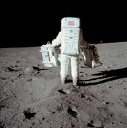 Buzz Aldrin on the moon on July 20, 1969.