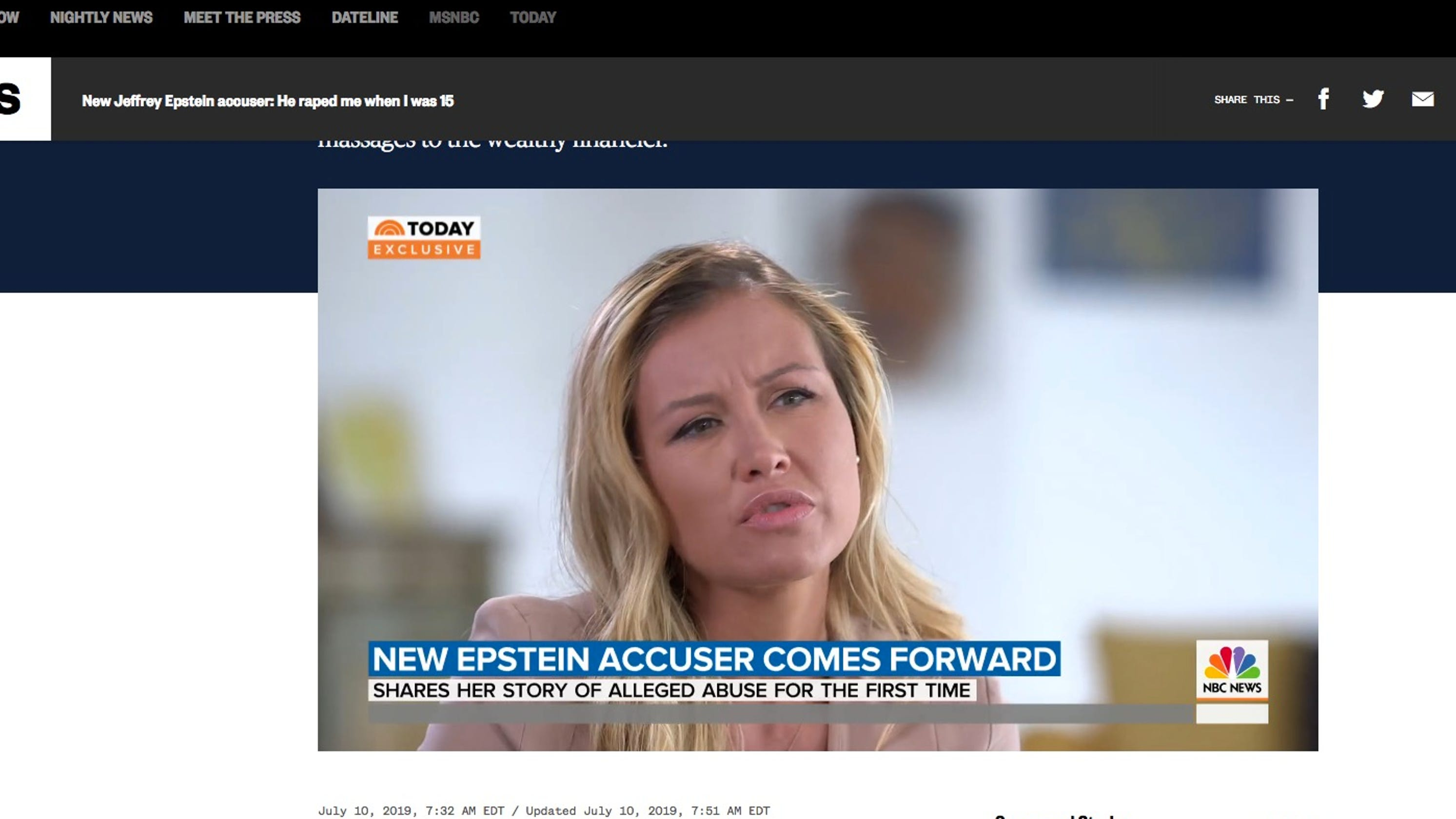 Jennifer Araoz says she was 15 when Epstein 'forcibly ...