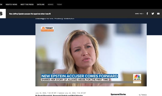 Jennifer Araoz tells NBC News she was forcibly raped at age 15 by Jeffrey Epstein, the wealthy, jet-setting hedge fund leader now jailed on statutory rape charges.
