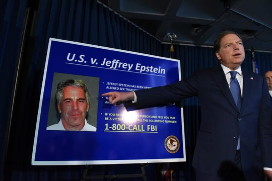 New York prosecutor Geoffrey Berman announces charges against Jeffrey Epstein on July 8, 2019.