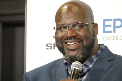 Former basketball pro Shaquille O'Neal at a Los Angeles press conference