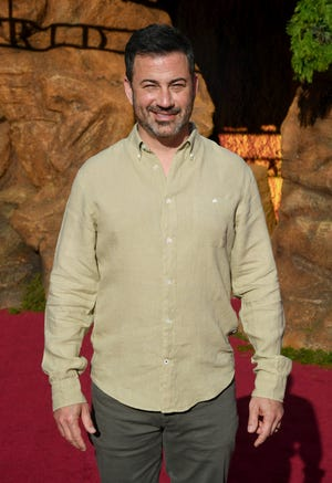 "Jimmy Kimmel, seen at the ""Lion King"" premiere in July, addressed tragedies and awards shows in an appearance at the Television Critics Association press tour Aug. 5, 2019."