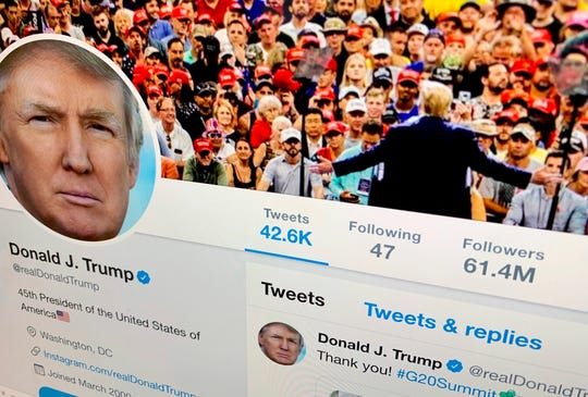President Donald Trump's Twitter feed is shown on a computer screen.