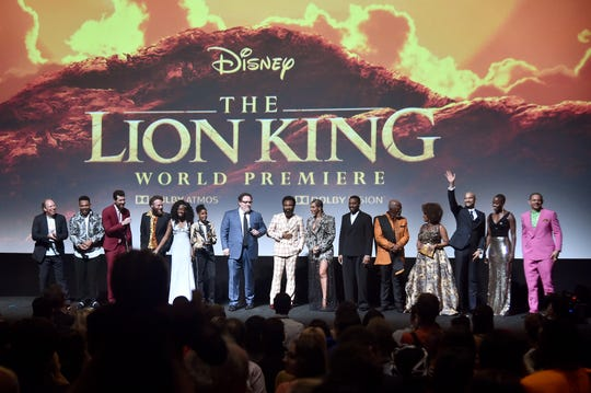 "The cast of ""The Lion King"": Hans Zimmer, Chance The Rapper, Billy Eichner, Seth Rogen, Shahadi Wright Joseph, JD McCrary, Jon Favreau, Donald Glover, Beyonce Knowles-Carter, Chiwetel Ejiofor, John Kani, Alfre Woodard, Keegan-Michael Key, Florence Kasumba, and Eric Andre."