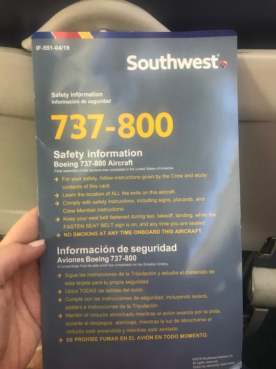 Southwest Airlines' new safety information card for the Boeing 737-800 . The airline previously had one safety information card for the 737-800 and the 737 Max 8, which is grounded, creating passenger confusion and concern.