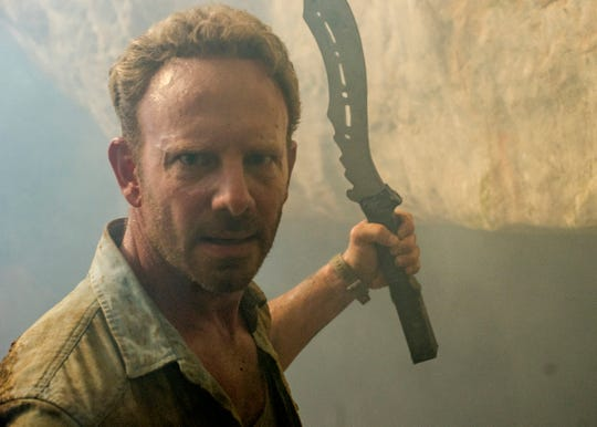 "Ian Ziering in a scene from SYFY's new movie ""Zombie Tidal Wave."""
