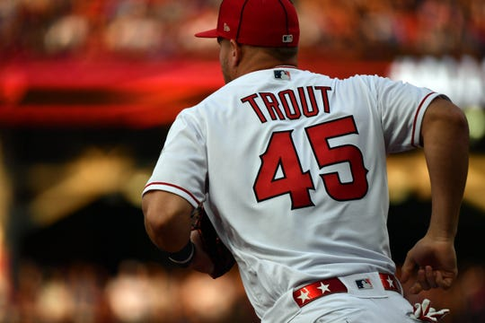 Trout wearing his No. 45 jersey before the game.