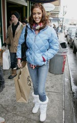 Actress Shannon Elizabeth walks on Main Street during the 2006 Sundance Film Festival January 21, 2006 in Park City, Utah.
