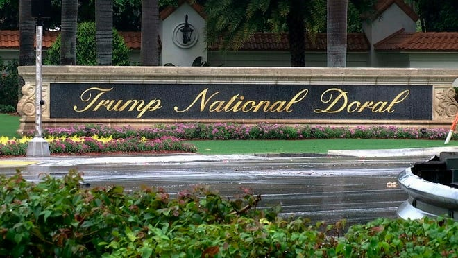This June 2, 2017 file frame from video shows the Trump National Doral in Doral, Fla. President Donald Trump's golf resort near Miami is hosting a tournament where strippers will serve as caddies. The Shadow All Star Tournament is organized by a Hialeah strip club, Shadow Cabaret. The club is advertising on Facebook and its website that the event will be held Saturday, July 13, 2019 at Trump National Doral.