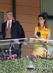Prince Andrew and his ex-wife, Sarah Ferguson, Duchess of York, watch a race during Royal Ascot on June 21, 2019.
