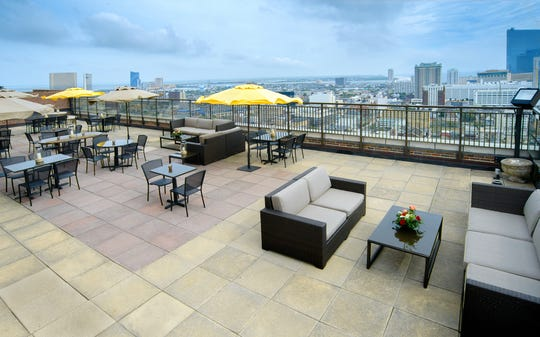 The VÜE Rooftop Bar & Lounge at the Claridge provides a birds-eye view of Atlantic City and the ocean.
