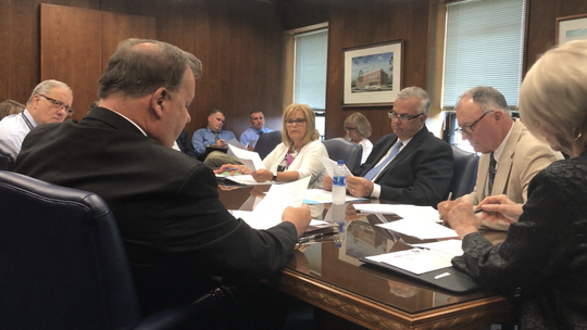 The Ocean County Board of Freeholders meet in caucus session in Toms River on Wednesday, July 10, 2019, to discuss a proposal to sue Gov. Phil Murphy's administration over its immigration policy in federal court.