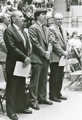 Ross Perot, left, stands with Students' Association president Rob Sellers and Abilene Christian University Chancellor John C. Stevens at the school's 1977 convocation. Perot was awarded an honorary degree that day and also spoke.
