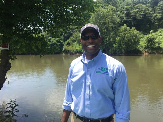 N.C. Department of Environmental Quality Secretary Michael Regan took a canoe trip down the French Broad River in Asheville July 10.