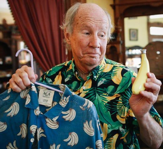 Howard Hanger and his various banana-themed items.