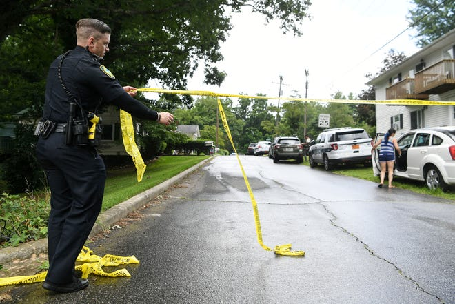 Police close off Reed Street in Shiloh as they work to take a suspect into custody July 11, 2019.