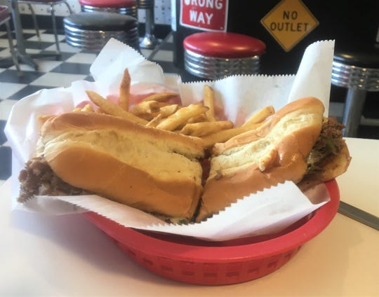 The Philly is one of the specials at Kate's Diner in Marshall - a steak sandwich with peppers and onions.