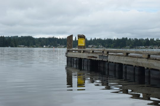 The fishing dock at Kitsap Lake Park.