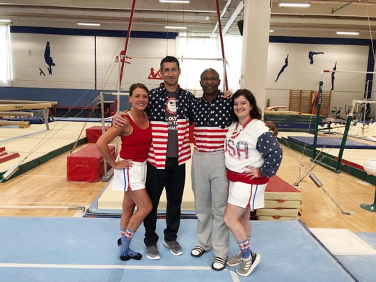 Amy Maze (left) traveled to Copenhagen, Denmark to teach dance along with gymnastics coaches (l-r) Rick Tybor, Miles Avery and Monica Avery.
