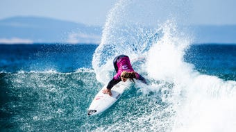 Caroline Marks competes in semifinals at Jeffreys Bay, South Africa, against Carissa Moore