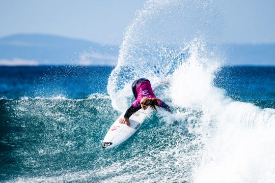 Caroline Marks of Melbourne Beach advances directly to Round 3 of the 2019 Corona Open J-Bay after winning Heat 6 of Round 1 at Supertubes on July 10, 2019 in Jeffreys Bay, South Africa.