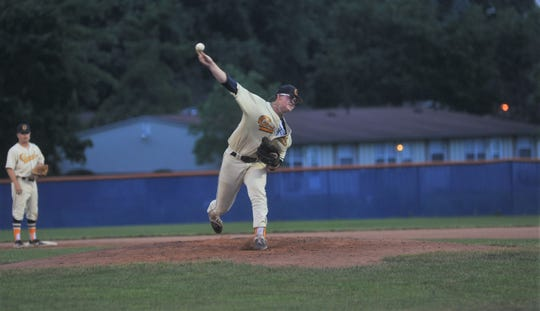 Galion's Jarrett Miller pitches against the Muskegon Clippers.