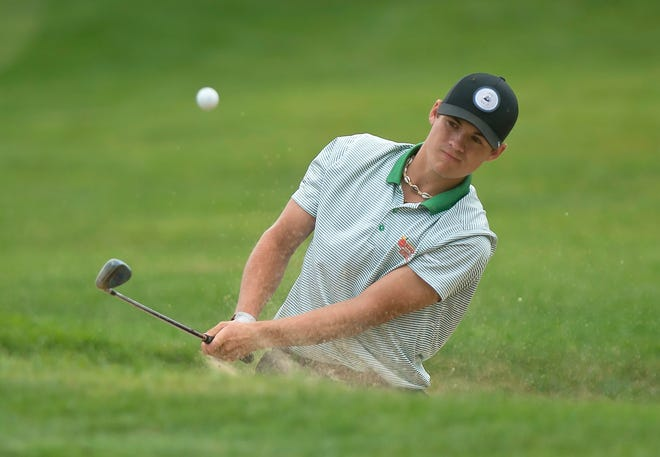 Bryson Richards hits a bunker shot on the sixth hole at Rutland Country Club during the final round of the 2019 Vermont Amateur championship on Thursday, July 11.