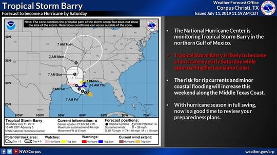 Tropical storm Barry is expected to become a hurricane by Saturday as it approaches the Louisiana Coast, according to the National Weather Service.