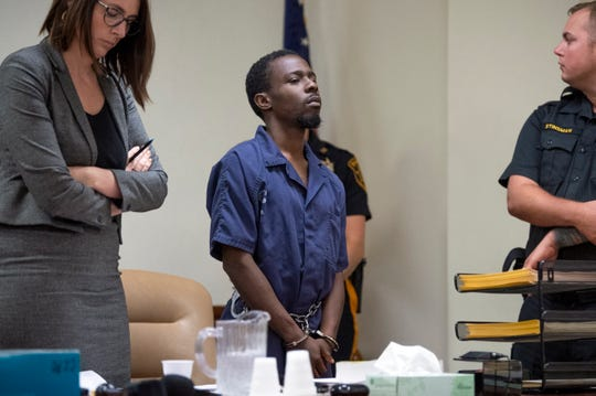 Brandon Beverly appears in court for a detention hearing at the Camden County Hall of Justice Thursday, July 11, 2019 in Camden, N.J. Beverly is charged with the kidnapping and murder of 20-year-old Curtis Jenkins III and will be remain detained.