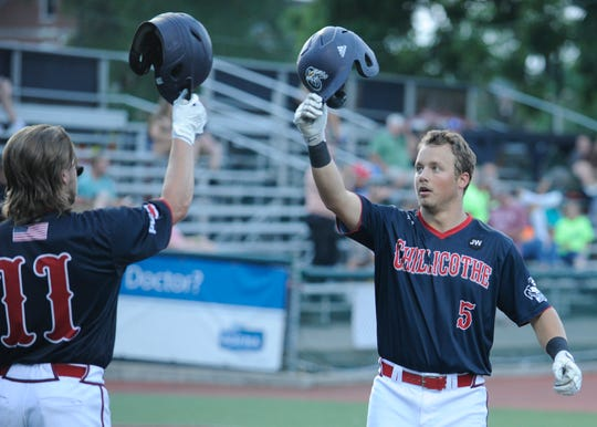 Cole Andrews celebrates after hitting a home run in a 10-1 win over West Virginia on July 10 at VA Memorial Stadium. Andrews was vital in the Paints 2019 Prospect League Championship run.