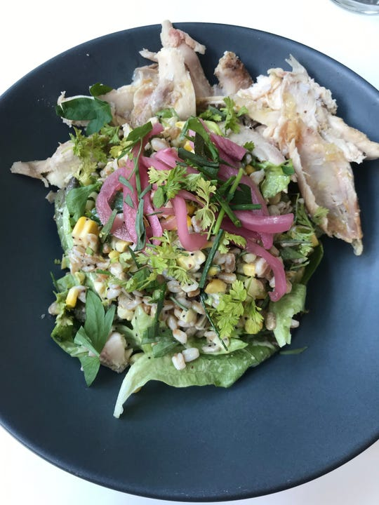 Farro salad with optional chicken from Fausto in the Contemporary Arts Center.