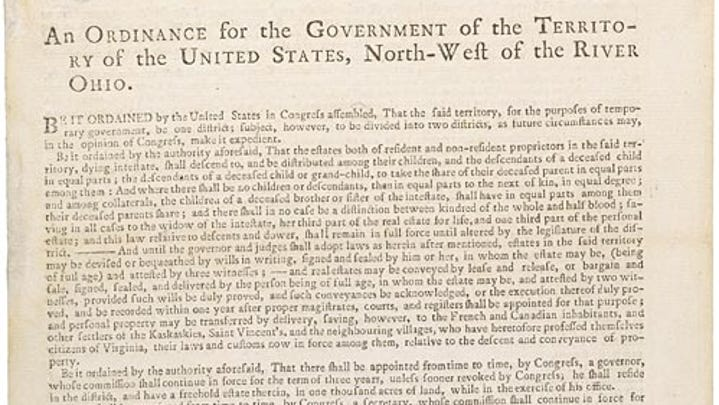Today in History, July 13, 1787: Northwest Ordinance established government in Northwest Territory