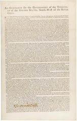 The Northwest Ordinance of 1787, establishing a government in the Northwest Territory.