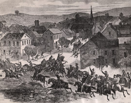 Remnants of Morgan's Raiders Reach Old Washington, Guernsey County: illustration appeared in Harper's Weekly, August 15, 1863.