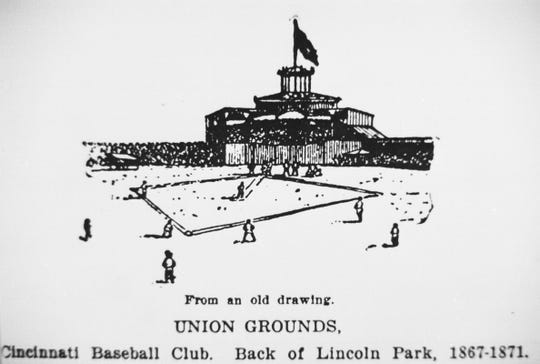A drawing of Union Grounds, the ballpark that the Cincinnati Red Stockings played in from 1867 to 1871.