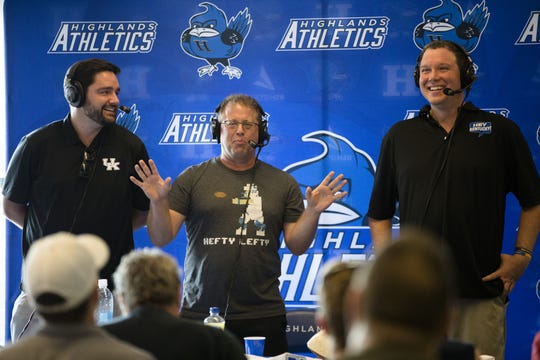 From left, Drew Franklin, Ryan Lemond and Matt Jones perform a special radio show in honor of Jared Lorenzen in front of a live audience at Highlands Athletics in Fort Thomas, Ky., on Thursday, July 11, 2019.  Kentucky Sports Radio host Matt Jones and started a fund to help support Jared Lorenzen's family.