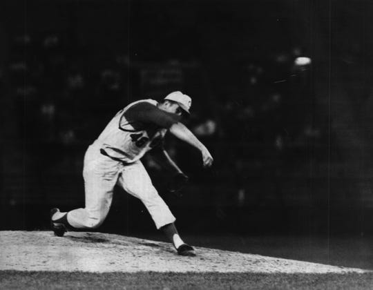 Jim Maloney pitches against  the New York Mets on June 14, 1965. He had a no-hitter through 10 innings before giving up a home run to Johnny Lewis in the 11th inning of a 1-0 loss.