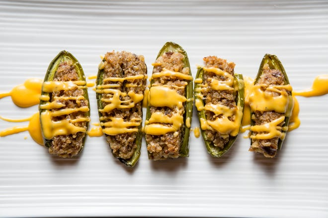 These jalapeno poppers feature a goetta filling.