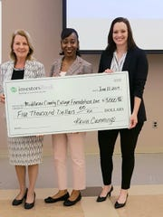 (From left) Veronica Clinton, executive director of the Middlesex County College (MCC) Foundation; DeAngelina Inman, assistant vice president/branch manager, Investors Bank and an MCC Foundation trustee; and Michelle Campbell, MCC's vice president for Institutional Advancement.
